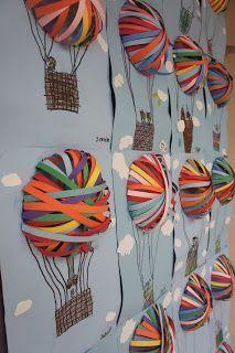 Bastelidee für Kinder - Heißluftballons mit Papierstreifen.