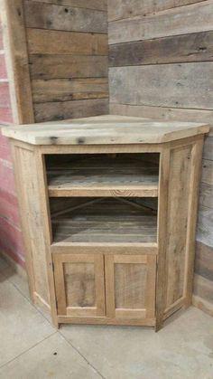Wooden corner tv cabinet custom made rustic barn wood corner entertainment center tv stand wood . Rustic Barn, Barn Wood, Wood Corner Tv Stand, Corner Unit, Corner Desk, Diy Design, Corner Tv Cabinets, Cupboards, Tv Furniture