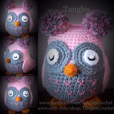 The Sleepy Time Owl measures approximately 9.5 H and 18 in diameter. This is a made to order listing. Main colors shown in the photos: light pink and grey. Please use the custom order button to order and specify colors when ordering. Beak and feet will be orange or yellow, unless otherwise specified.  Materials: Acrylic Yarn Premium Polyester Fiberfill  Size: Approximately 9.5 H and 18 in diameter.  Weight: Approximately 8.1 oz.  Join me on Facebook: www.facebook.com/TanglesCrochet