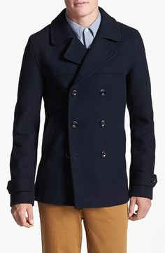 Topman Skinny Fit Double Breasted Wool Blend Peacoat available at #Nordstrom