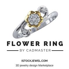 3D model Flower Ring designed by CADMaster Shop for our 3D Jewelry Marketplace  #Rings #3DJewelry #jewelry