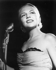 My mom has told me so many stories about nights she watched Peggy sing at Jazz clubs in Chicago with Benny Goodman. I've no clue when or where this picture was taken, but that was the first thing I thought of. Could you imagine how cool those shows must have been?! If only. #Peggy Lee