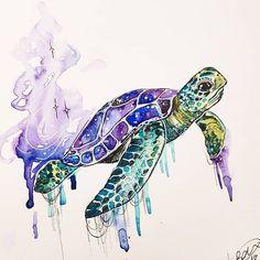 Never get bored of Sea Turtles. Sea Turtle Art, Turtle Love, Mandala Turtle, Cute Turtles, Sea Turtles, Turtle Tattoo Designs, Sea Turtle Tattoos, Animal Drawings, Art Drawings