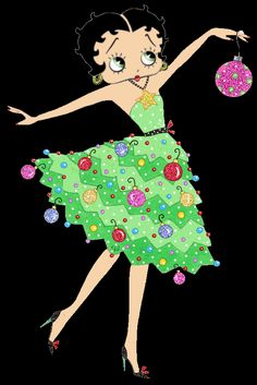 pretty christmas pictures | Beautiful Betty Boop in a Christmas tree dress decorated with colorful ...