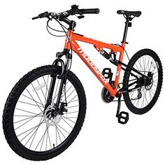 Muddyfox Unisex Adult T-Blaze Dual Suspension 21 Speed Mountain Bike, Orange, 26 Inch - UKsportsOutdoors Amazon Prime Free Shipping, Cycling Gear, Alloy Wheel, Mountain Biking, Bicycle, Unisex, Orange, Flowers, Bicycle Kick