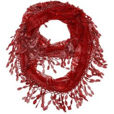 Crimson lace infinity scarf with eyelet trim ($25) ❤ liked on Polyvore featuring accessories, scarves, infinity scarves, circle scarves, lace scarves, tube scarves and infinity loop scarves
