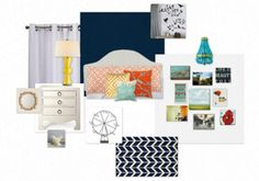 Have you heard of olioboards? Just like polyvore only for home decor.  This is the plan for my room.  White walls with a navy accent wall with white bird and branch mural. Accents in orange, yellow, and turquoise.  White walls become gallery display for a mix of paintings and photography.