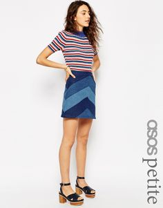 Image 1 ofASOS PETITE Denim A-line Mini Skirt in Chevron Patchwork