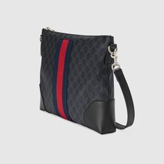 Shop the GG Supreme Wide Black Messenger at GUCCI.COM. Enjoy Free Shipping and Complimentary Gift Wrapping. Gucci Handbags, Luxury Handbags, Leather Handbags, Fashion Bags, Fashion Drug, Fashion Heels, Cheap Fashion, 70s Fashion, Runway Fashion