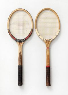 The two wooden tennis rackets, mcenroe used in the 80ties, dunlop maxply fort and the, for him, especially modified dunlop maxply mcenroe.