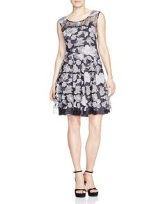 Vera Wang Embroidered Fit and Flare Dress | Bloomingdale's