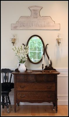 Love the antique dresser!