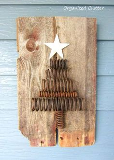 Recycle materials but at the same time, decorate your house this yuletide season. Old rusty springs that are so ready to be thrown away can be turned into one unique Christmas tree. Place the springs on any old wooden plank. Finalize the whole thing with a star cutout from leftover cardboard.