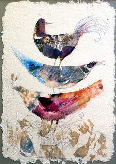 Large ART PRINT Gift for Teachers Happy Birds handmade Paper