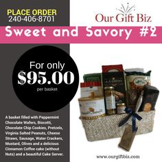 Enjoy our larger gourmet basket filled with Peppermint Chocolate Wafers, Biscotti, Chocolate Chip Cookies, Pretzels, Virginia Salted Peanuts, Cheese Straws, Sausage, Water Crackers, Mustard, Olives and a delicious Cinnamon Coffee cake (without Nuts) and a beautiful Cake Server.  Shop online: http://www.ourgiftbiz.com/gift-baskets/  or call 240-406-8701 to plac…