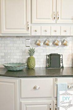 could be my kitchen .marble subway tile backsplash with jet mist honed granit, white shaker cabinets, stainless pulls. Kitchen Backsplash, Kitchen Countertops, Backsplash Ideas, Dark Counters, Backsplash Design, Updated Kitchen, New Kitchen, Stone Kitchen, Eclectic Kitchen