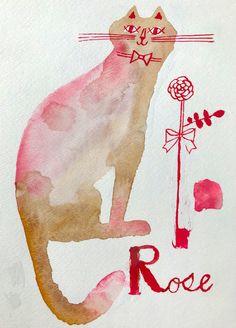 Japanese Illustration, Ink Wash, Cat 2, Watercolor And Ink, Artists, Rose, Design, Candy, Japan Illustration