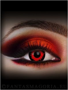 "Red Volturi lenses and Red makeup! For more lenses check out our ""Crazy lenses board"""