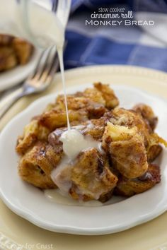 Slow Cooker Cinnamon Roll Monkey Bread is made with cinnamon rolls in a crockpot!