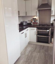 Integrated fridge freezer Cheap Kitchen, Kitchen Redo, Kitchen Storage, Kitchen Design, Kitchen Cabinets, Persimmon Homes, Kitchen Diner Extension, Integrated Fridge, Kitchen Board