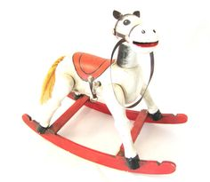 VINTAGE Wooden Rocking Horse Musical ENESCO by DDbuttons on Etsy, $25.00