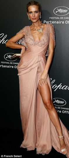 Strike a pose: Petra Nemcova worked the carpet like a pro showing off her enviable figure to its full advantage