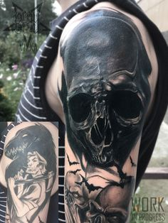 Cover-up tattoo on shoulder by Vika Timina Cover Up Tattoos For Men, Black Tattoo Cover Up, Tattoos For Guys, Cool Tattoos, Skull Tattoo Design, Skull Tattoos, Black Tattoos, Tattoo Designs, Scar Tattoo