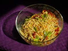 Asian sesame noodle salad. Been looking for healthy options for my daughter instead of school lunch. Can be served cold, with or without meat.