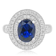 Sterling Silver and Rhodium Plated Simulated Sapphire and CZ Halo Ring | Beautiful Jewelry | Romancing Diamonds