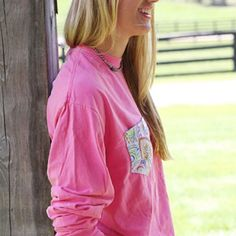 The Greyson on Watermelon in Long Sleeve is just one of the many on our NEXT-DAY shipping list! Head on over to the website to check out the others (and while you're at it, click on our Columbus Day sale tab!) 💞 #FraternityCollection #PocketTee
