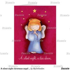 A silent night christmas angel greeting card red by Sarah Trett for www.mylittleeden.com #angel