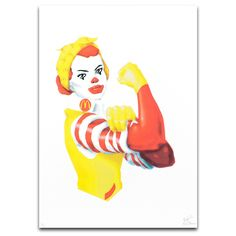 The McRevolutionaries (McRiveter)   Limited edition CYMK screen print by The Yes Men. The Yes Men have collaborated with us to produce a series of original screenprints that depict the McRevolutionaries – a series of fictional characters that suggest a hybrid between a well know fast food chain mascot and historic revolutionary figures. Part of Dundee Contemporary Arts Editions programme.