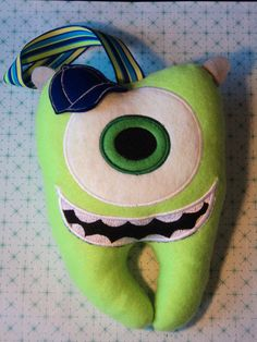 Tooth Fairy Pillows for Boys | Boys Monsters Inc Inspired Tooth Fairy Pillow- Green and Blue