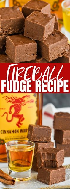 Seen On Wine & Glue This easy Fireball Fudge Recipe is the perfect recipe to make for the holidays or anytime! An easy fudge recipe made with condensed milk and a few other ingredients that is perfect for the cinnamon whiskey lover in your life! Fudge Recipes, Candy Recipes, Chocolate Recipes, Baking Recipes, Holiday Recipes, Dessert Recipes, Chocolate Chips, Chocolate Tarts, Chocolate Fudge