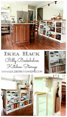 Ike Hack Kitchen Island Project with Billy bookshelves and butcher block-www.goldenboysandme.com