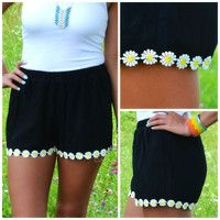 Field Day Black Daisy Trim Shorts