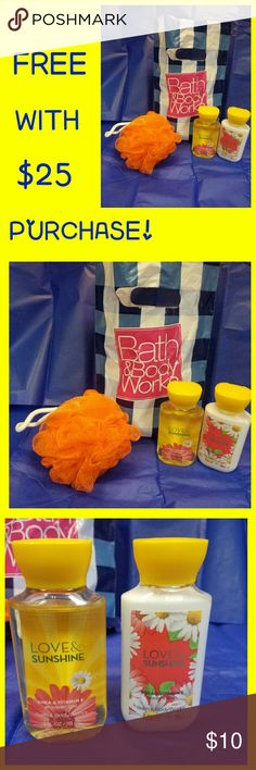 💛↖FREE BATH & BODY WORKS↗💛 This lovely travel set is FREE W/ANY $25 PURCHASE from my closet! 🤗 3oz Body Wash & 3oz Body Lotion with Shea & Vitamin E. Pouf sponge also included. A bright, happy blend of sun-kissed daisies, fresh lemons and sweet strawberries, guaranteed to make you smile!  Enjoy this awesome bonus today, or feel free to purchase it if you'd like. Thanks for looking at my closet, & God bless!💛 Bath and Body Works  Other