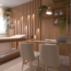 A beautiful mix of timber, soft light and greenery for a well balanced, calming space Clinic Interior Design, Clinic Design, Interior Design Living Room, Medical Office Decor, Dental Office Design, Beauty Salon Decor, Hospital Design, Office Furniture Design, Beauty Room