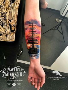 #Watercolor #tattoo #arm #male #marine #odswitudozmierzchu #awesome #art