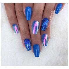 Blue coffin nails  Rainbow chrome nail art design