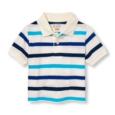 s Toddler Boys Short Sleeve Striped Pique Polo - White - The Children's Place