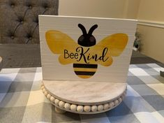 Bee kind wooden sign on Mercari Painted Wooden Signs, Bee Crafts, Kindness Quotes, Bee Happy, Bees Knees, Sign Quotes, Centerpieces, Sayings, Painting
