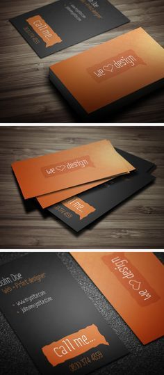 Buy We Love Design Business Cards by XenoThemes on GraphicRiver. Description Stylish business card designed for creatives, sure to turn heads Details Layered PSD CMYK Horizontal &amp. Web Design, Love Design, Print Design, Business Card Design Inspiration, Business Design, Name Card Design, Bussiness Card, Stationary Design, Free Business Cards