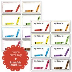 crayon labels template - free printable crayon template first day art pinterest