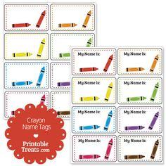 Printable Crayon Name Tags