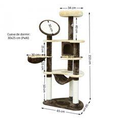 Rascador Gato Altura 153x65x50cm Arbol Poste para Arañar Centro Actividades