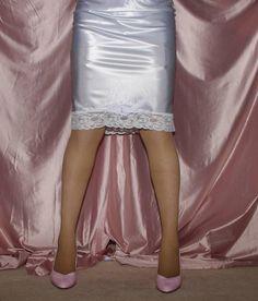 Visible Garter Bumps Under White Satin Half Slip Sheer Stockings and Pink High Heels