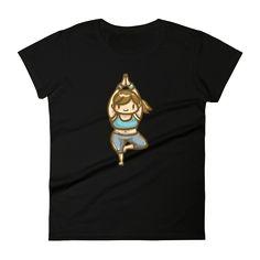 Black Yoga Girl Short Sleeve T-Shirt for Women