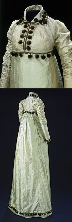Dress with matching spencer. ca. 1807-1810.  Silk taffeta, trimmed with chenille pom-poms attached to silk cord, partly lined with cotton, embroidered net