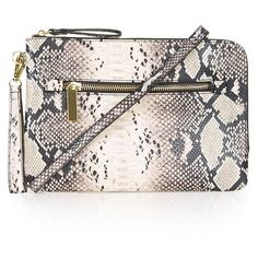 Snake Effect Zip Clutch Bags Purses Accessories Zani Teubes Snakeskin Handbag